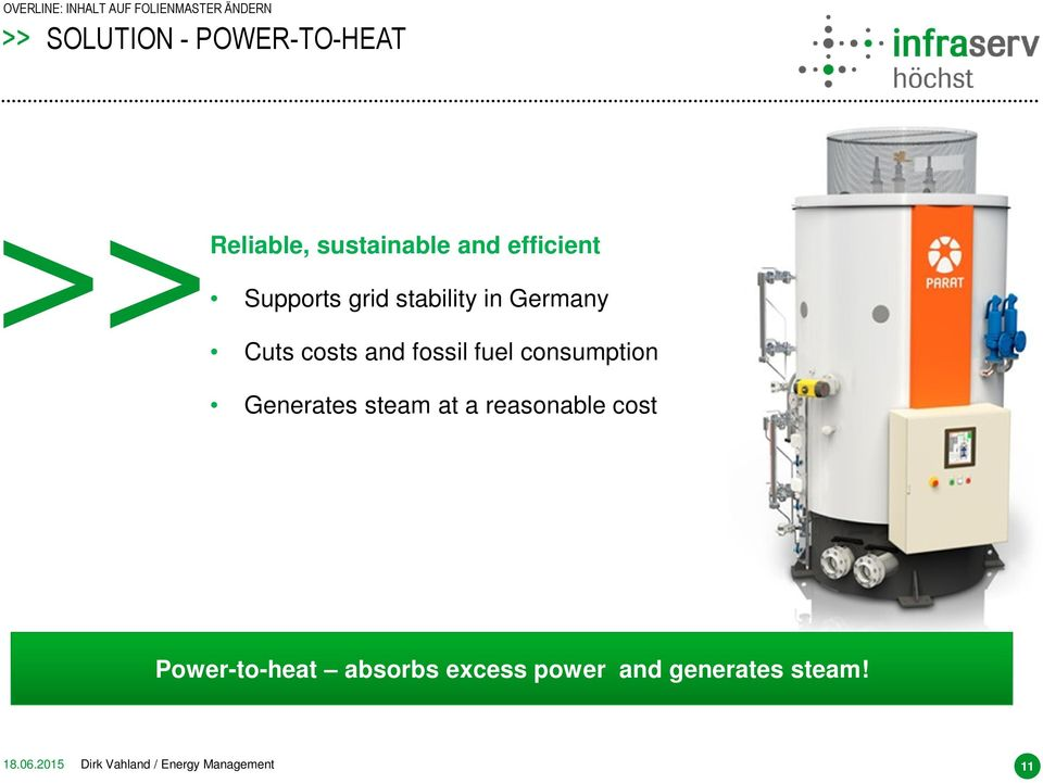Generates steam at a reasonable cost Power-to-heat absorbs excess