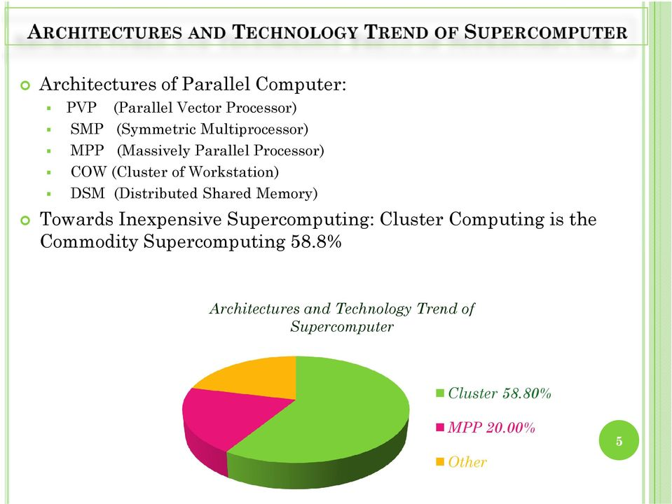 (Distributed Shared Memory) Towards Inexpensive Supercomputing: Cluster Computing is the