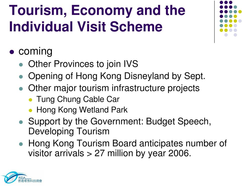 Other major tourism infrastructure projects Tung Chung Cable Car Hong Kong Wetland Park