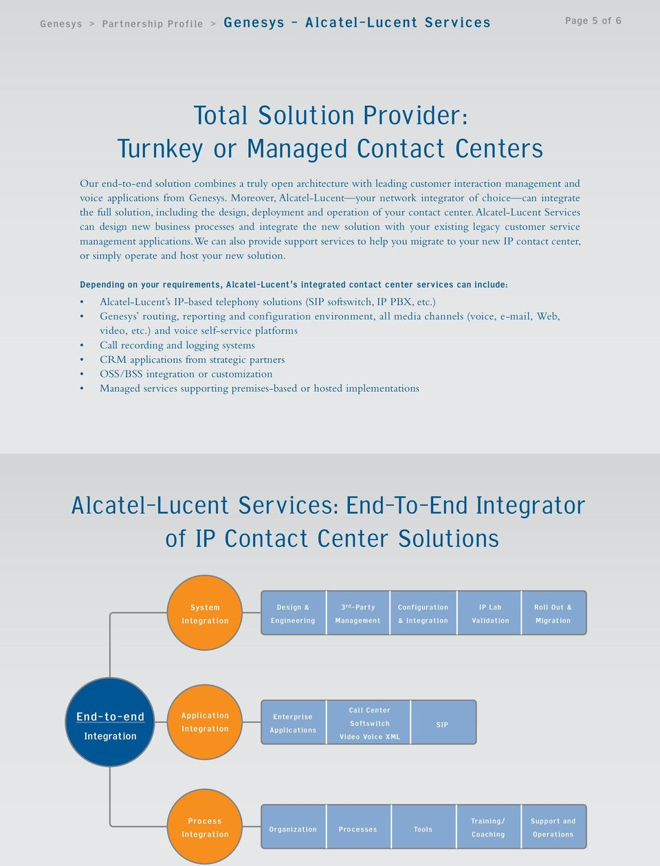 Alcatel-Lucent Services can design new business processes and integrate the new solution with your existing legacy customer service management applications.