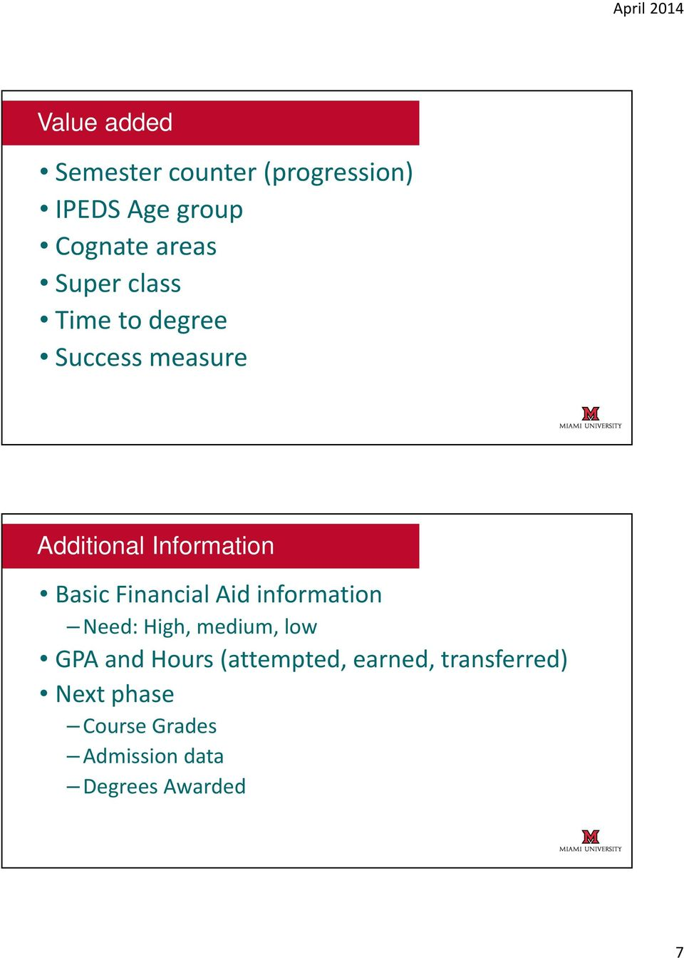 Financial Aid information Need: High, medium, low GPA and Hours