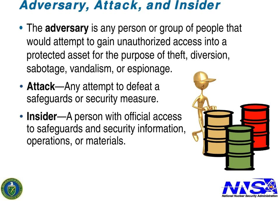 sabotage, vandalism, or espionage. Attack Any attempt to defeat a safeguards or security measure.