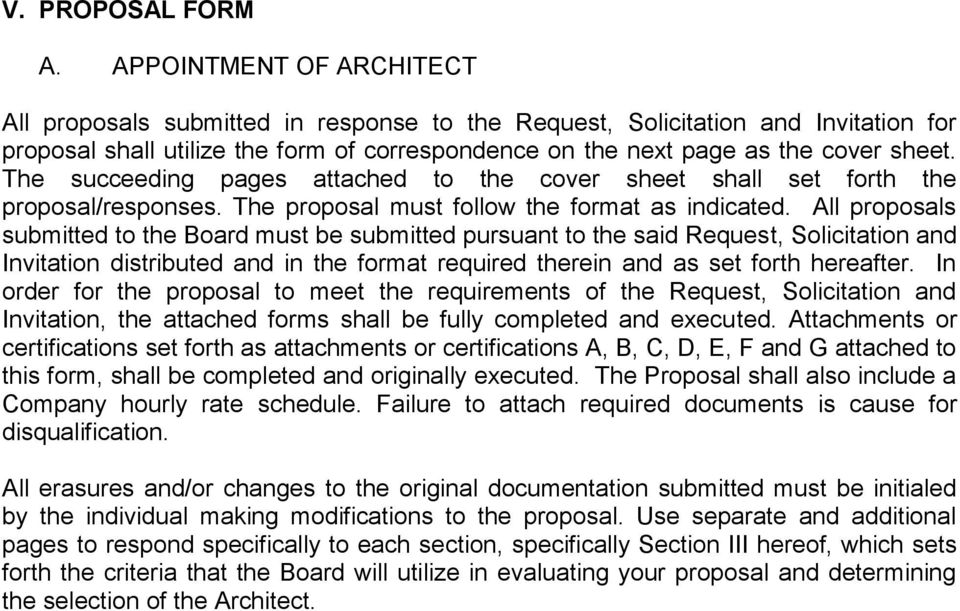 The succeeding pages attached to the cover sheet shall set forth the proposal/responses. The proposal must follow the format as indicated.
