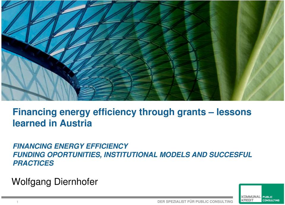EFFICIENCY FUNDING OPORTUNITIES, INSTITUTIONAL