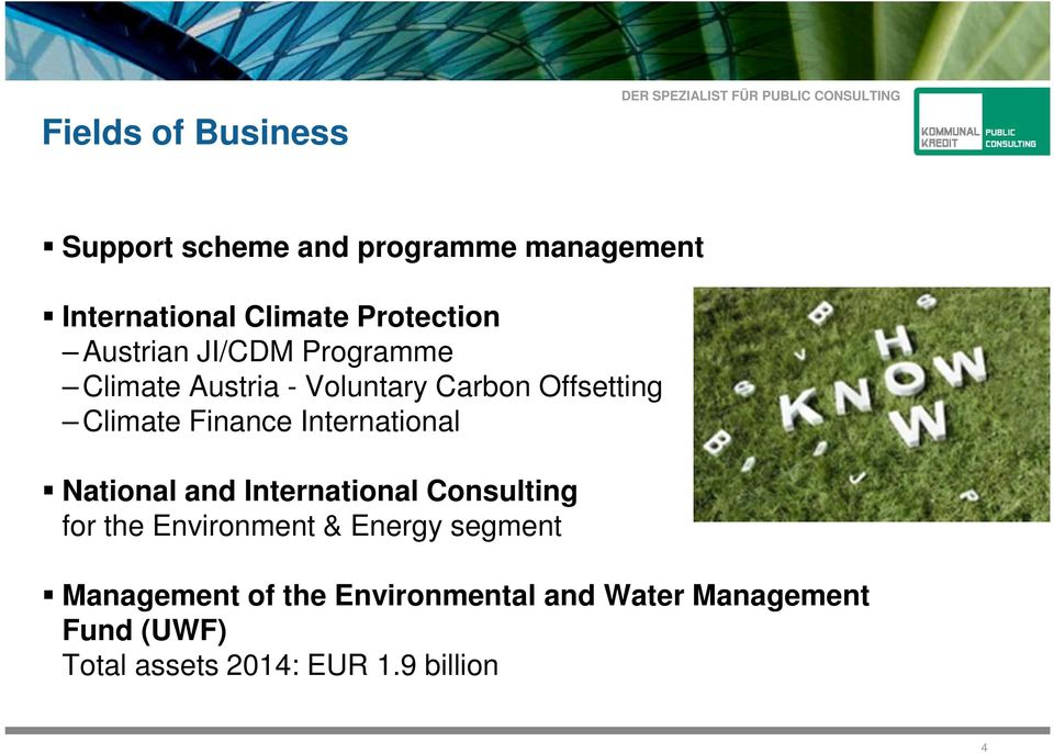 International National and International Consulting for the Environment & Energy segment