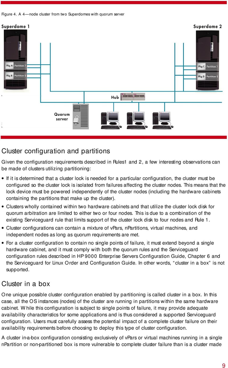 of clusters utilizing partitioning: If it is determined that a cluster lock is needed for a particular configuration, the cluster must be configured so the cluster lock is isolated from failures