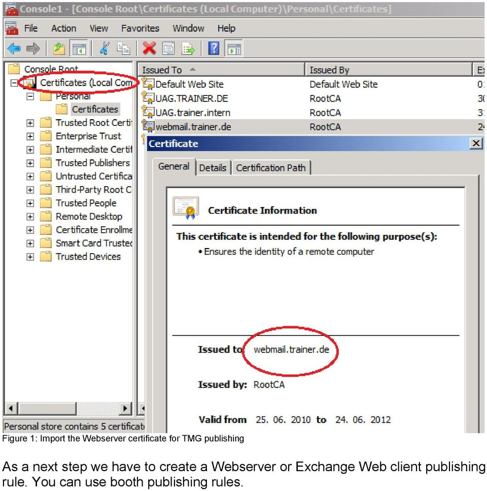 create a Webserver or Exchange Web client