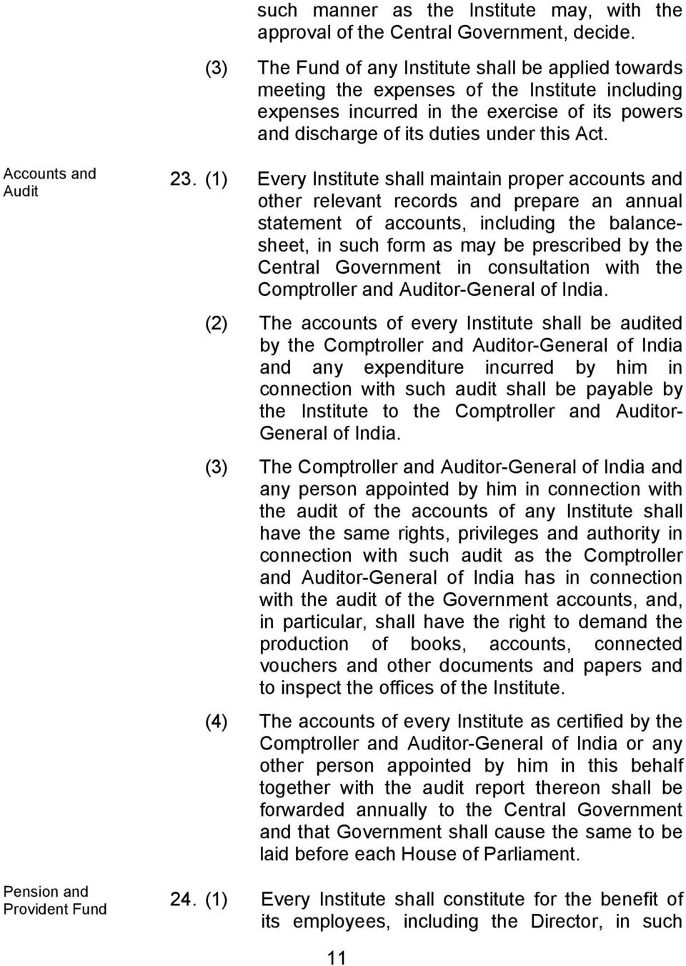 Accounts and Audit Pension and Provident Fund 23.