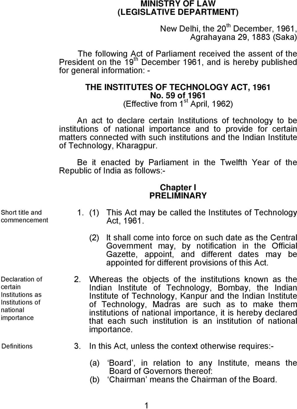 59 of 1961 (Effective from 1 st April, 1962) An act to declare certain Institutions of technology to be institutions of national importance and to provide for certain matters connected with such