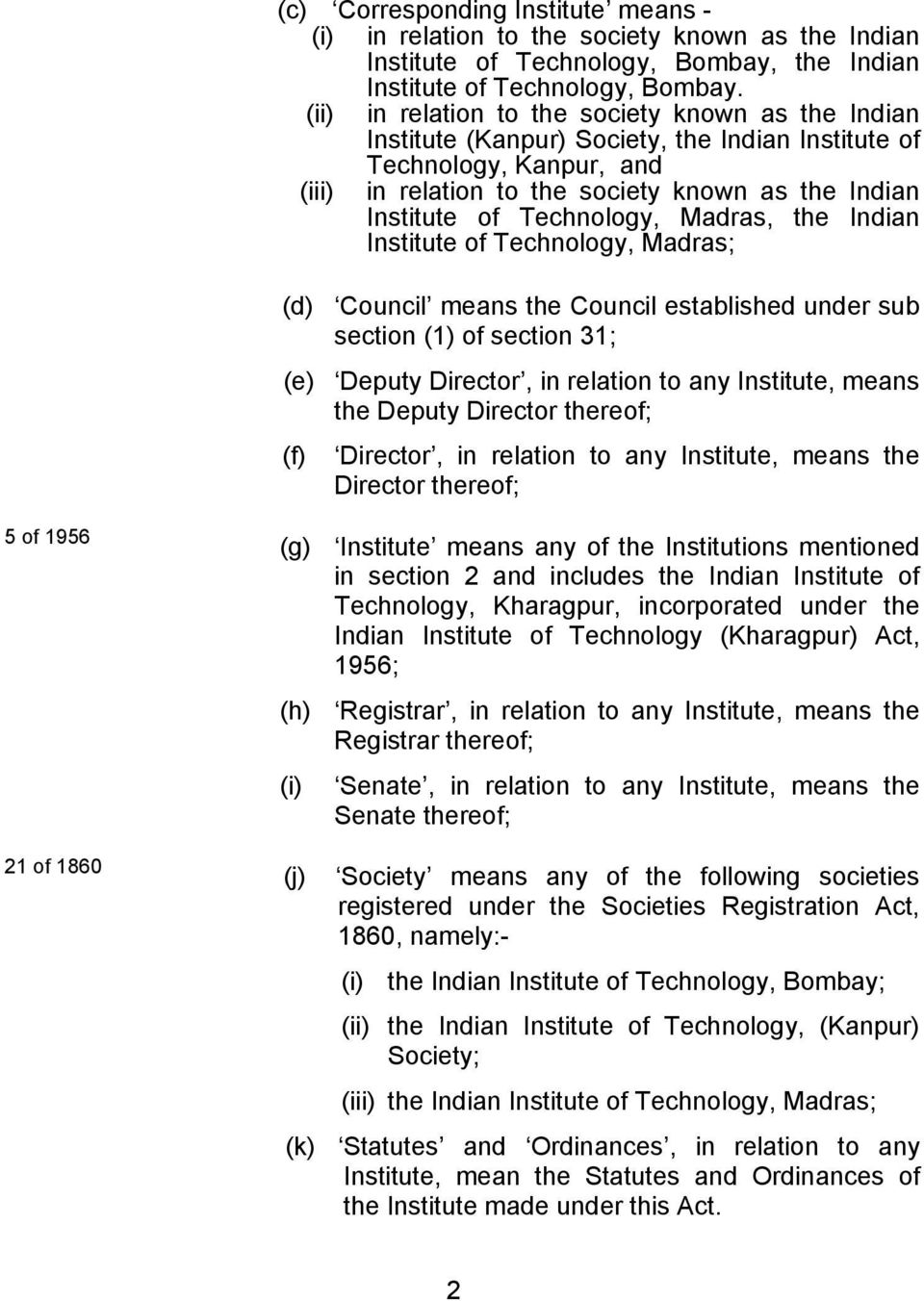 Technology, Madras, the Indian Institute of Technology, Madras; (d) Council means the Council established under sub section (1) of section 31; (e) Deputy Director, in relation to any Institute, means