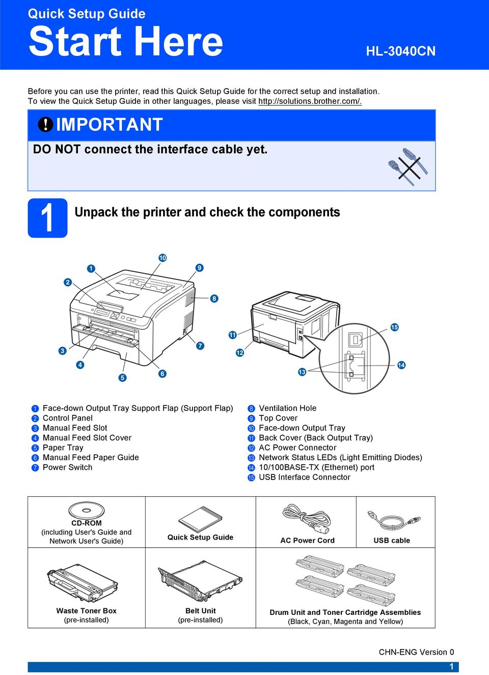 1 Unpck the printer nd check the components 3 Fce-down Output Try Support Flp (Support Flp) b Control Pnel c Mnul Feed Slot d Mnul Feed Slot Cover e Pper Try f Mnul Feed Pper Guide g Power Switch h