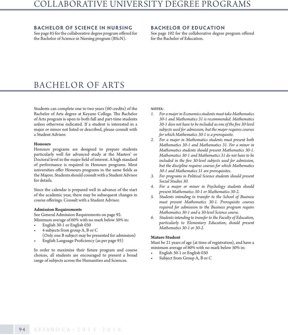 Bachelor Of Arts Students Canplete One To Two Years (60 Credits) Of The
