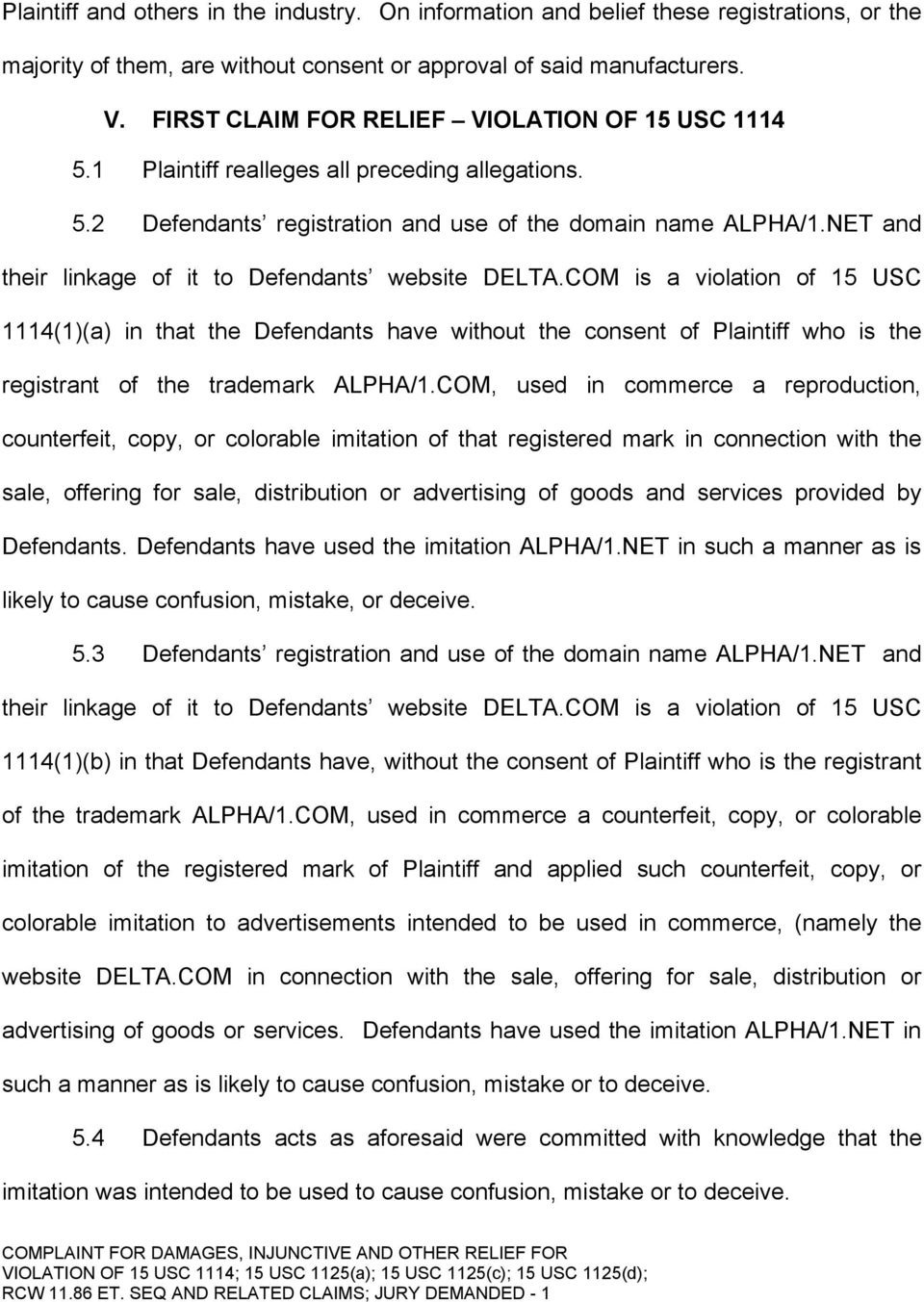 NET and their linkage of it to Defendants website DELTA.