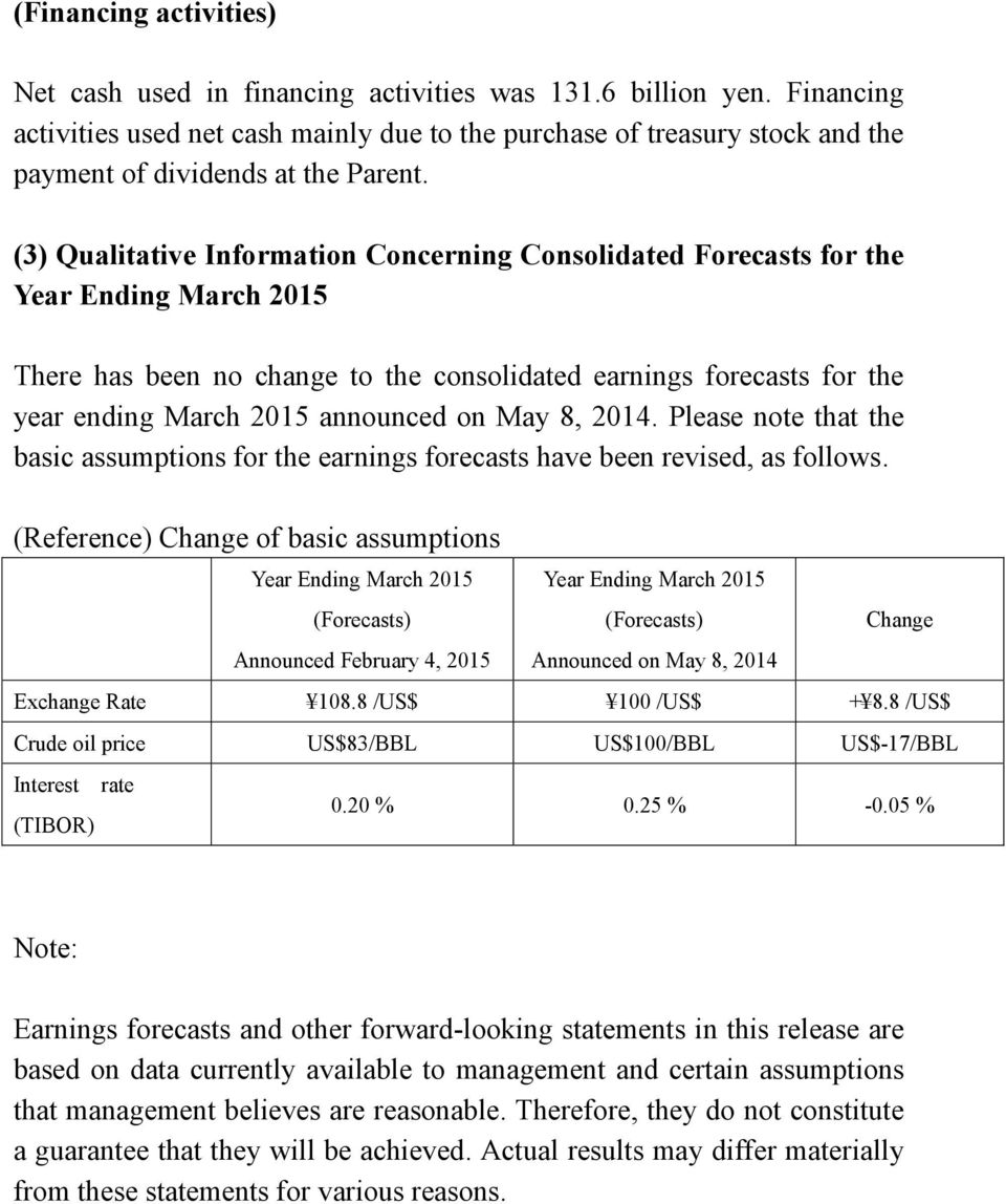 (3) Qualitative Information Concerning Consolidated Forecasts for the Year Ending March 2015 There has been no change to the consolidated earnings forecasts for the year ending March 2015 announced
