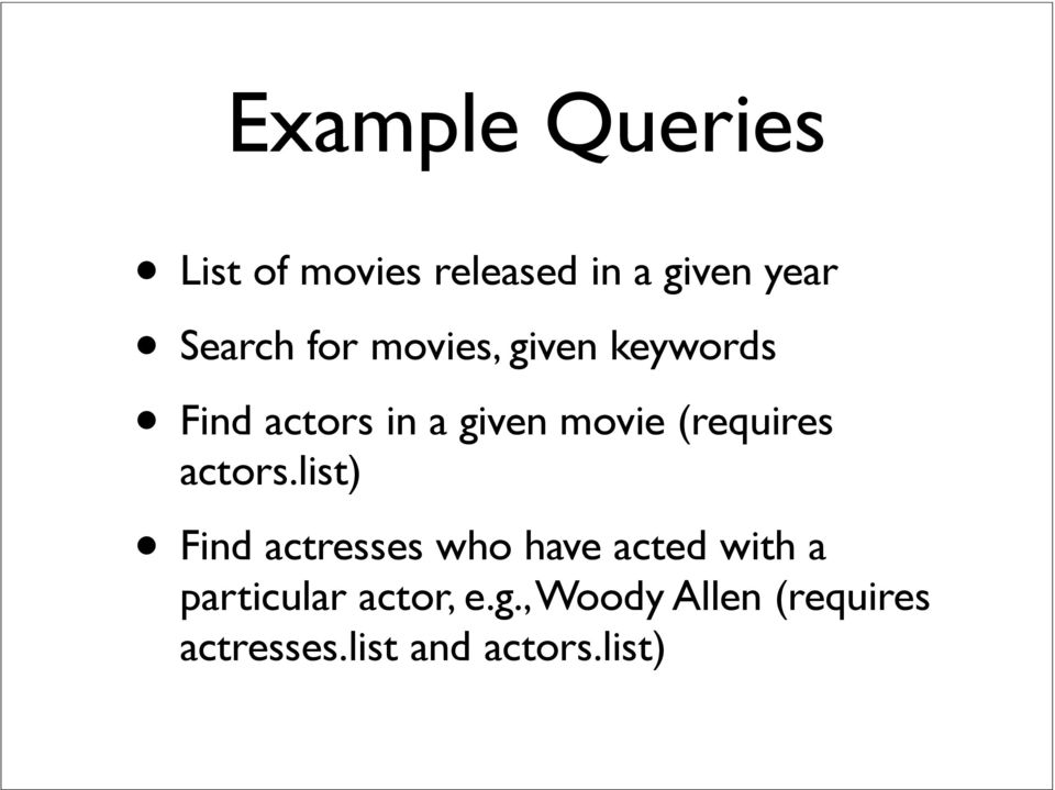 IMDB Data Set Topics: Parsing Input using Scanner class. Atul ...