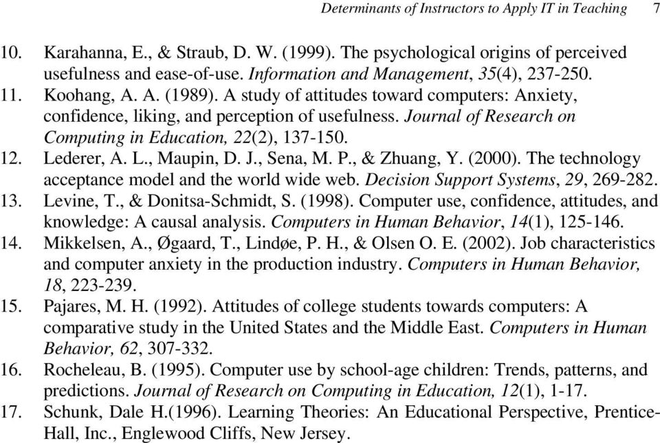 Journal of Research on Computing in Education, 22(2), 137-150. 12. Lederer, A. L., Maupin, D. J., Sena, M. P., & Zhuang, Y. (2000). The technology acceptance model and the world wide web.