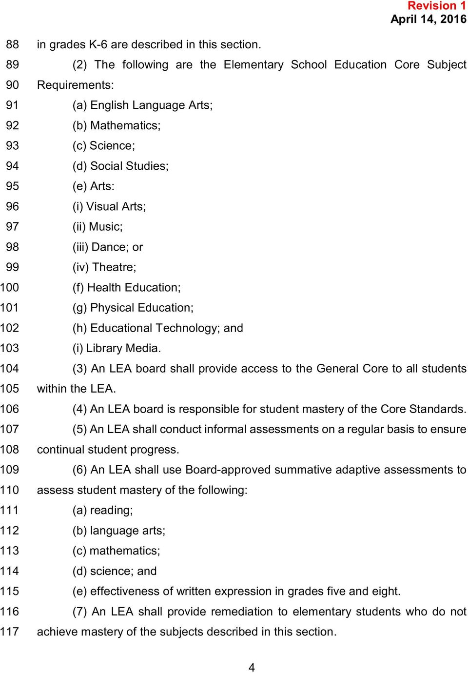Visual Arts; 97 (ii) Music; 98 (iii) Dance; or 99 (iv) Theatre; 100 (f) Health Education; 101 (g) Physical Education; 102 (h) Educational Technology; and 103 (i) Library Media.