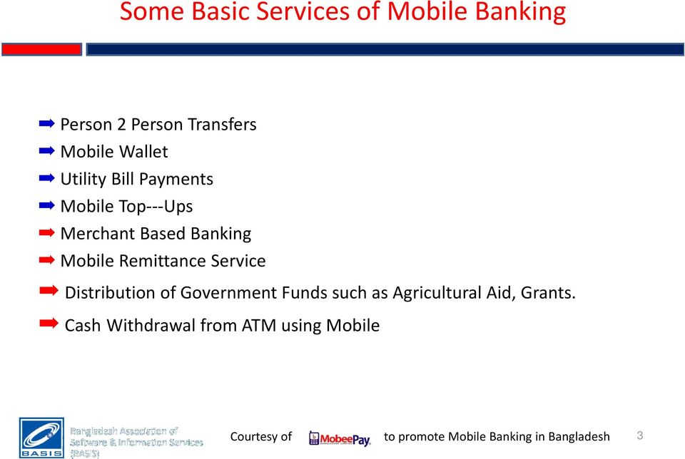 Banking Mobile Remittance Service Distribution of Government Funds
