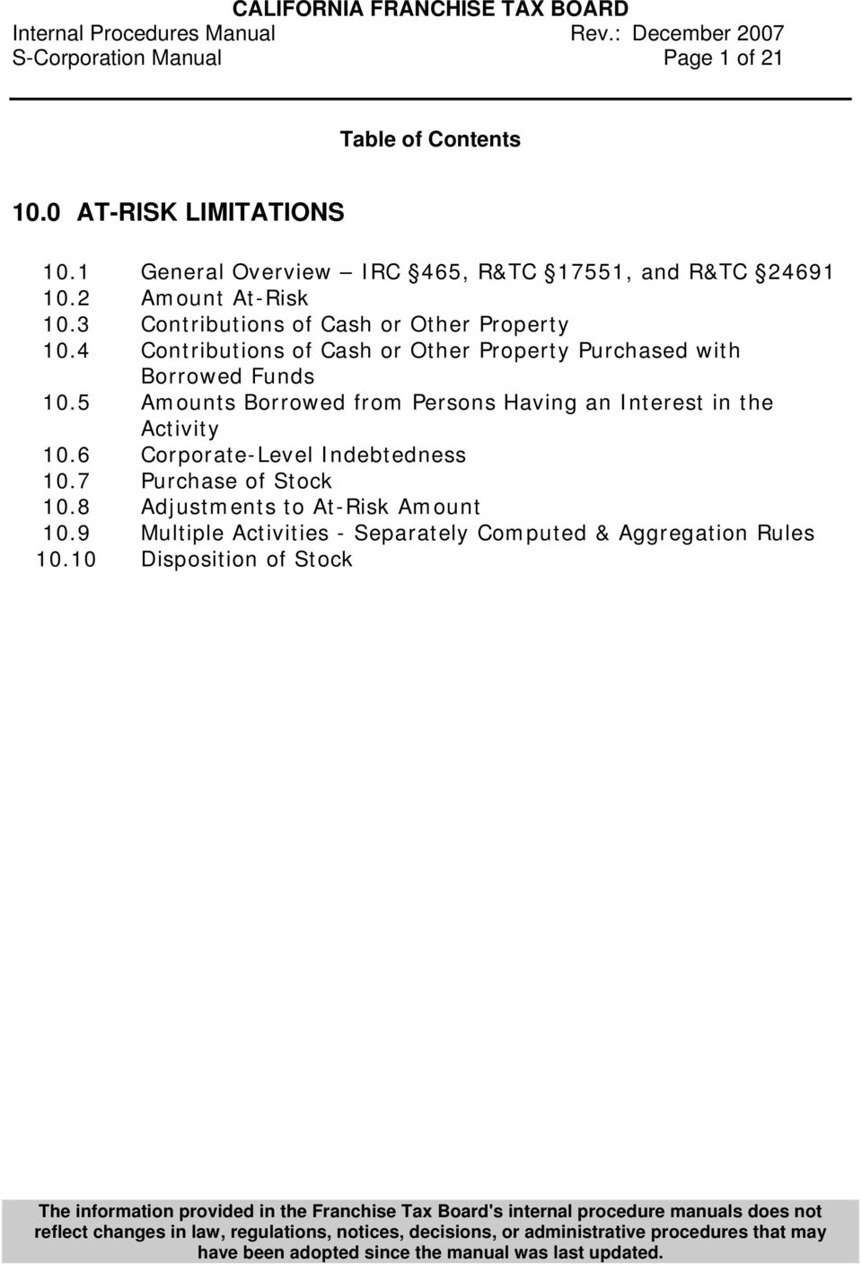 4 Contributions of Cash or Other Property Purchased with Borrowed Funds 10.