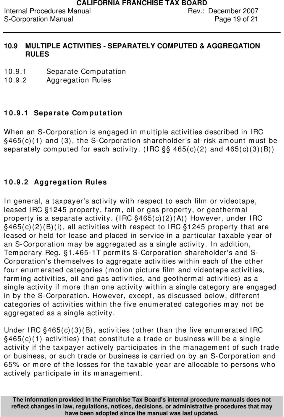 MULTIPLE ACTIVITIES - SEPARATELY COMPUTED & AGGREGATION RULES 10.9.