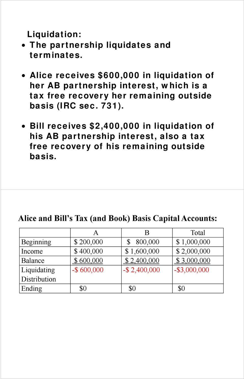 Bill receives $2,400,000 in liquidation of his AB partnership interest, also a tax free recovery of his remaining outside basis.