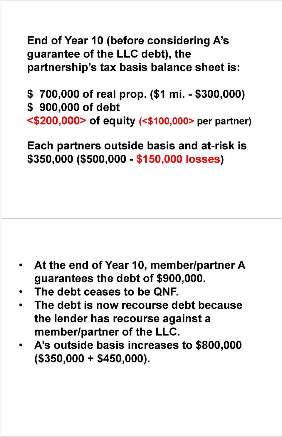 - $300,000) $ 900,000 of debt <$200,000> of equity (<$100,000> per partner) Each partners outside basis and at-risk is $350,000 ($500,000 -