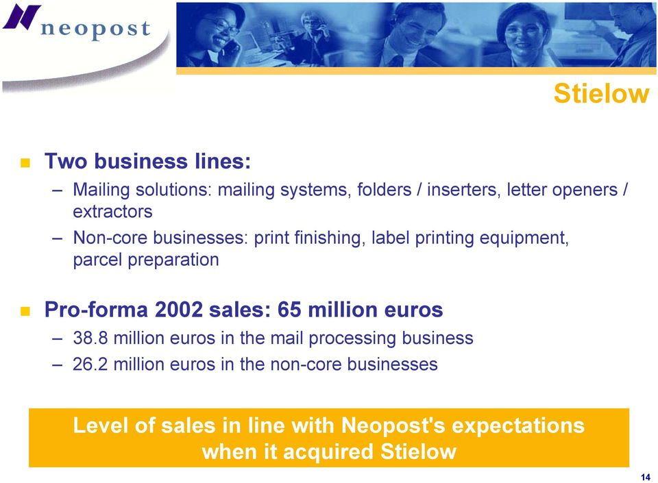 Pro-forma 2002 sales: 65 million euros 38.8 million euros in the mail processing business 26.