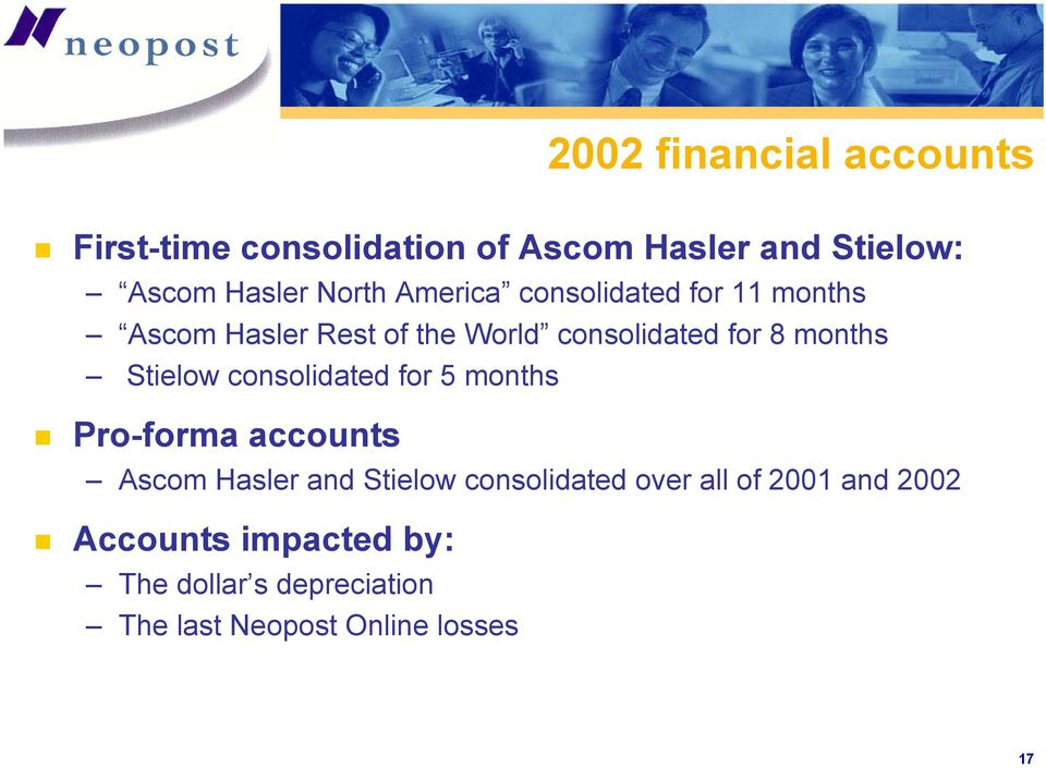 Stielow consolidated for 5 months Pro-forma accounts Ascom Hasler and Stielow consolidated over