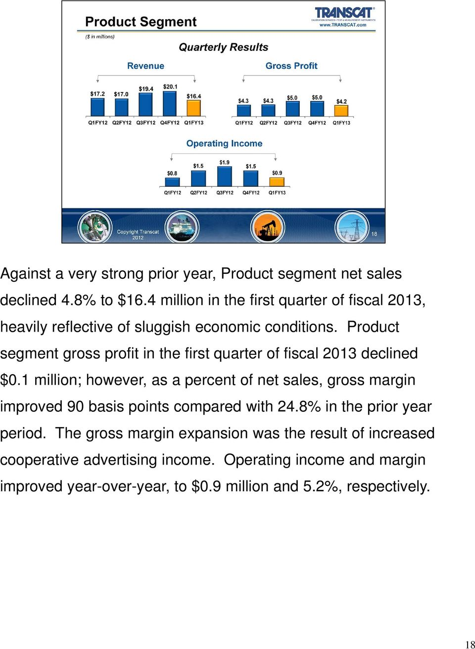 Product segment gross profit in the first quarter of fiscal 2013 declined $0.