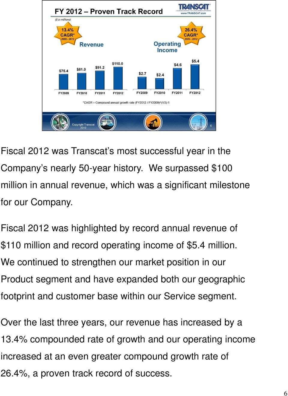 Fiscal 2012 was highlighted by record annual revenue of $110 million and record operating income of $5.4 million.
