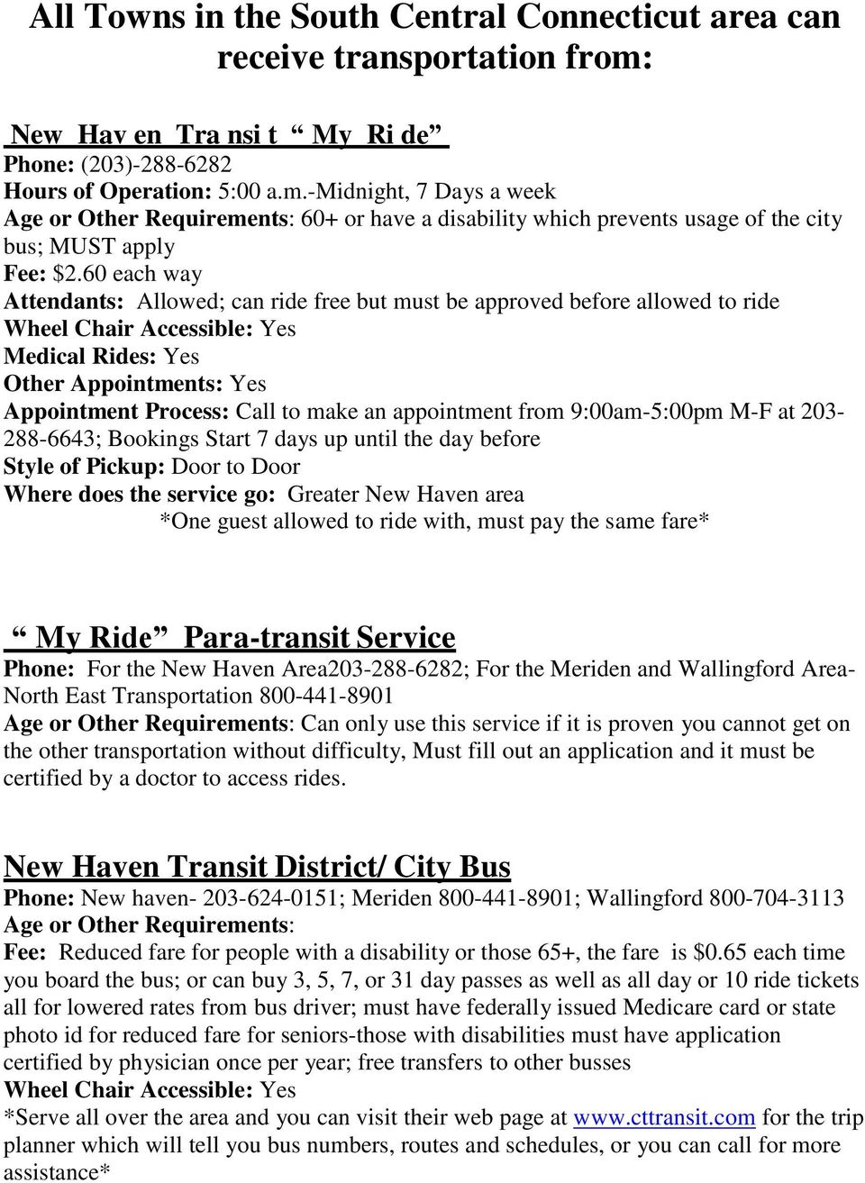 -midnight, 7 Days a week Age or Other Requirements: 60+ or have a disability which prevents usage of the city bus; MUST apply Fee: $2.