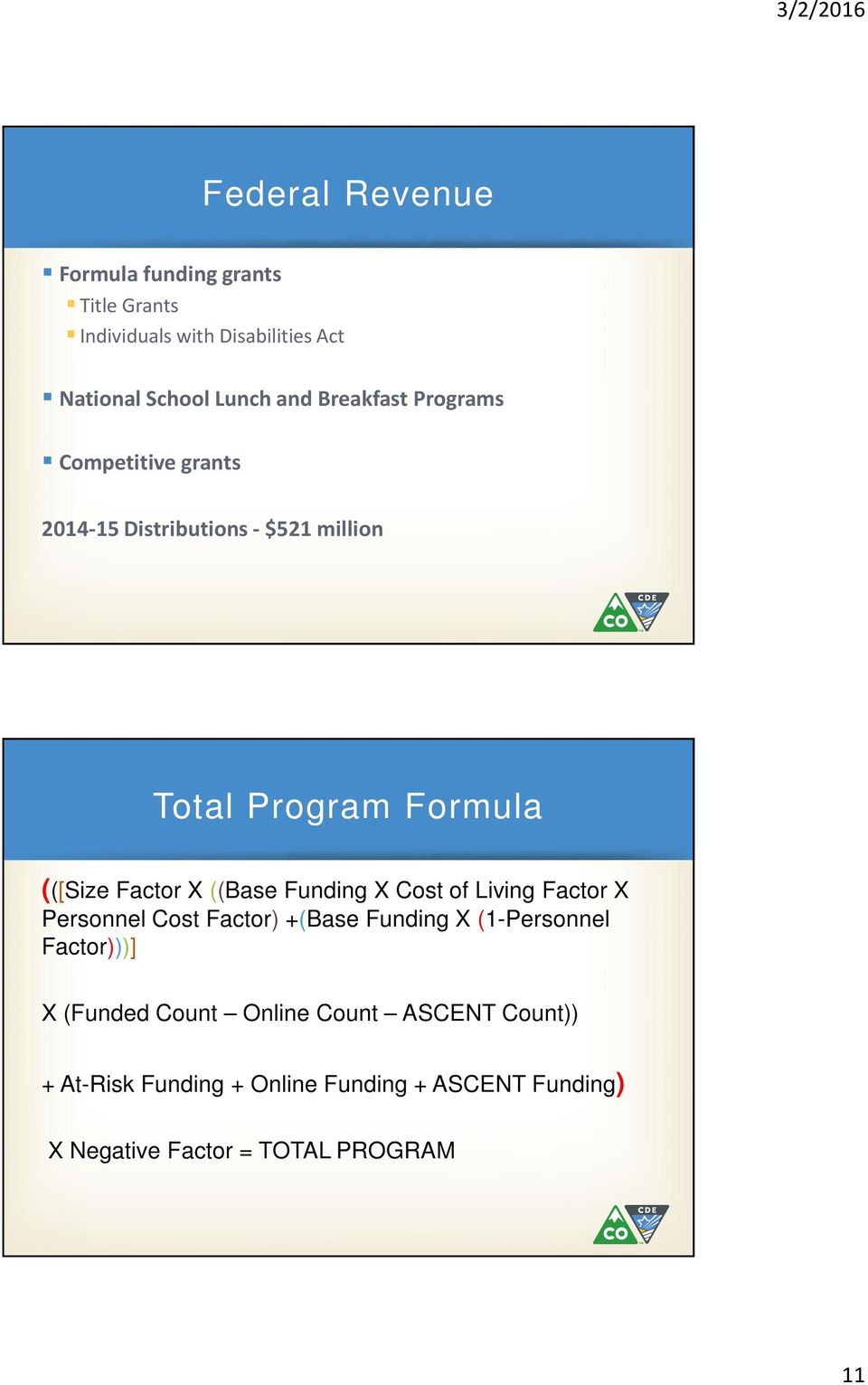 ((Base Funding X Cost of Living Factor X Personnel Cost Factor) +(Base Funding X (1-Personnel Factor)))] X (Funded