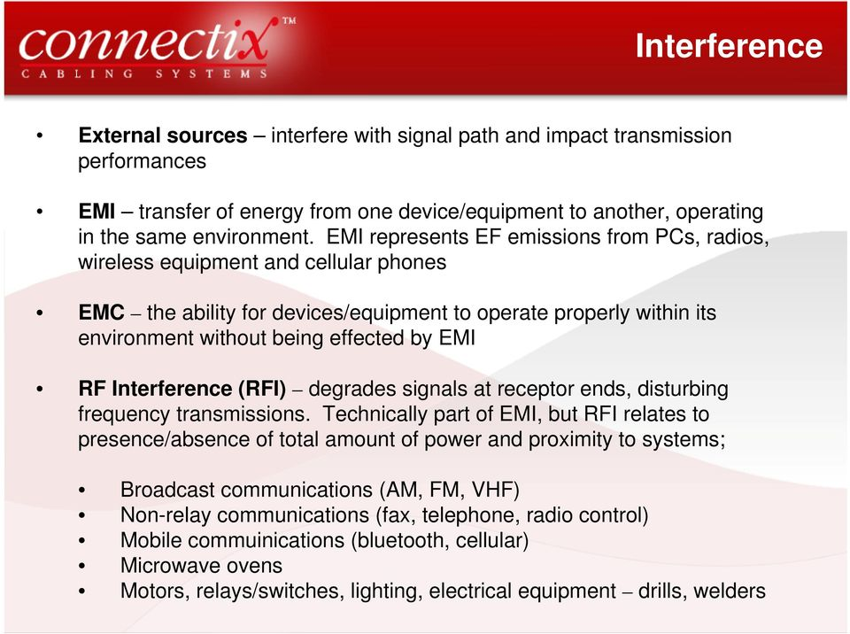Interference (RFI) degrades signals at receptor ends, disturbing frequency transmissions.