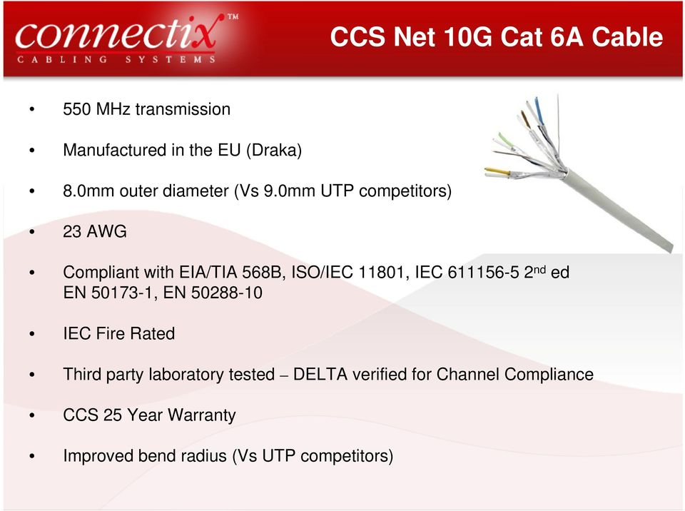 0mm UTP competitors) 23 AWG Compliant with EIA/TIA 568B, ISO/IEC 11801, IEC 611156-5 2 nd