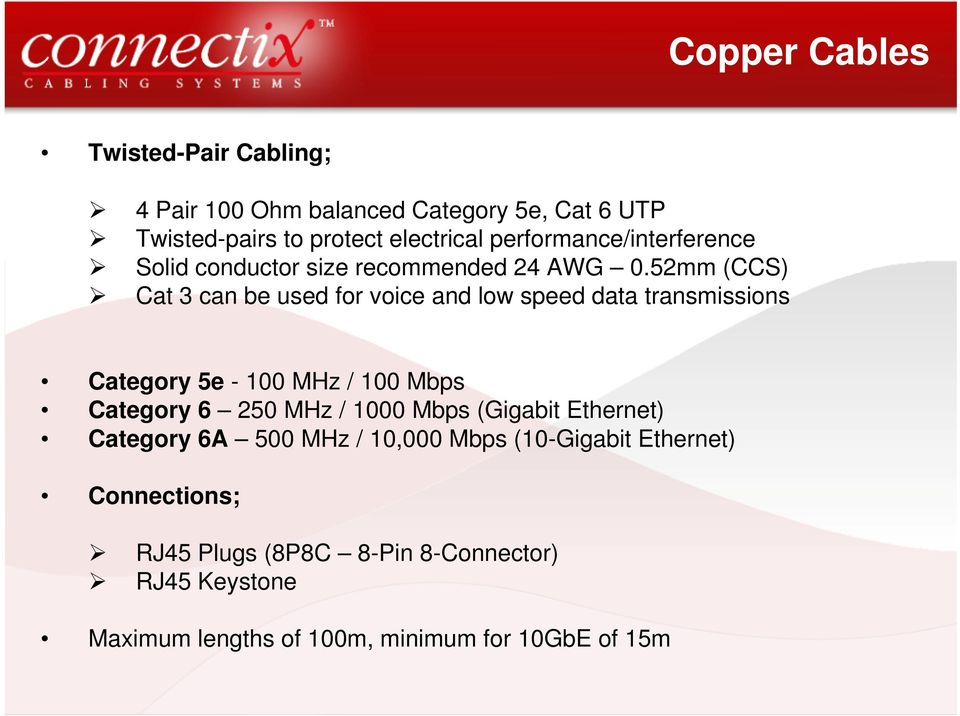 52mm (CCS) Cat 3 can be used for voice and low speed data transmissions Category 5e - 100 MHz / 100 Mbps Category 6 250 MHz /