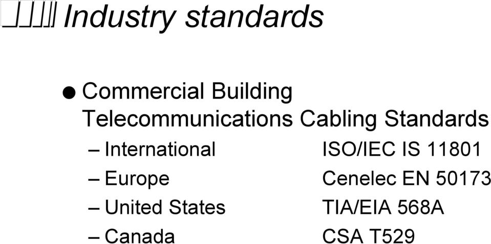 International ISO/IEC IS 11801 Europe