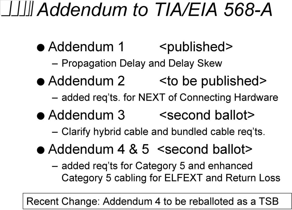 for NEXT of Connecting Hardware Addendum 3 <second ballot> Clarify hybrid cable and bundled cable