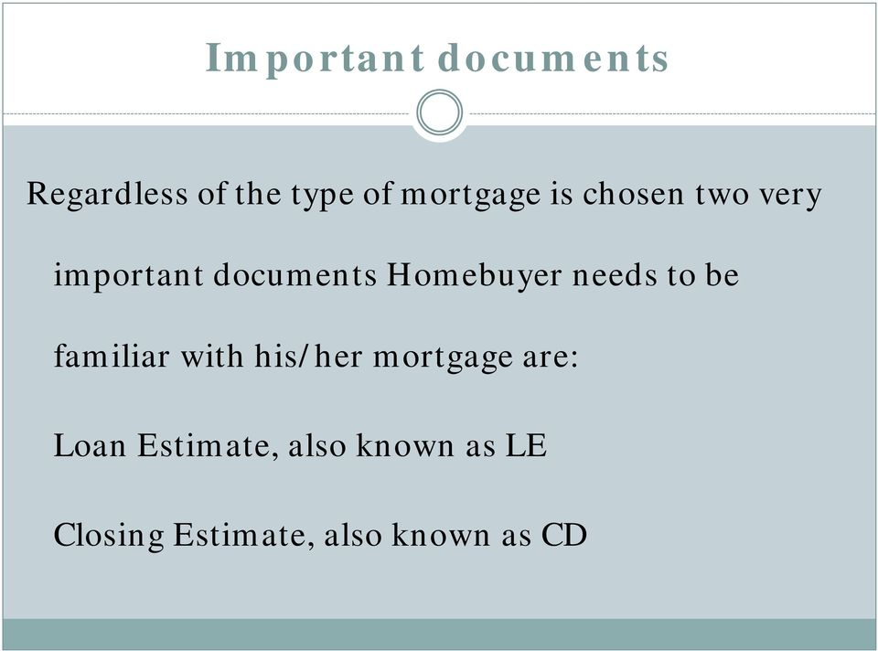 to be familiar with his/her mortgage are: Loan