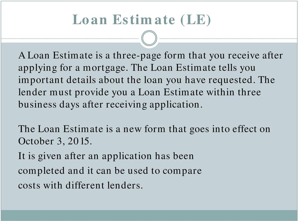 The lender must provide you a Loan Estimate within three business days after receiving application.