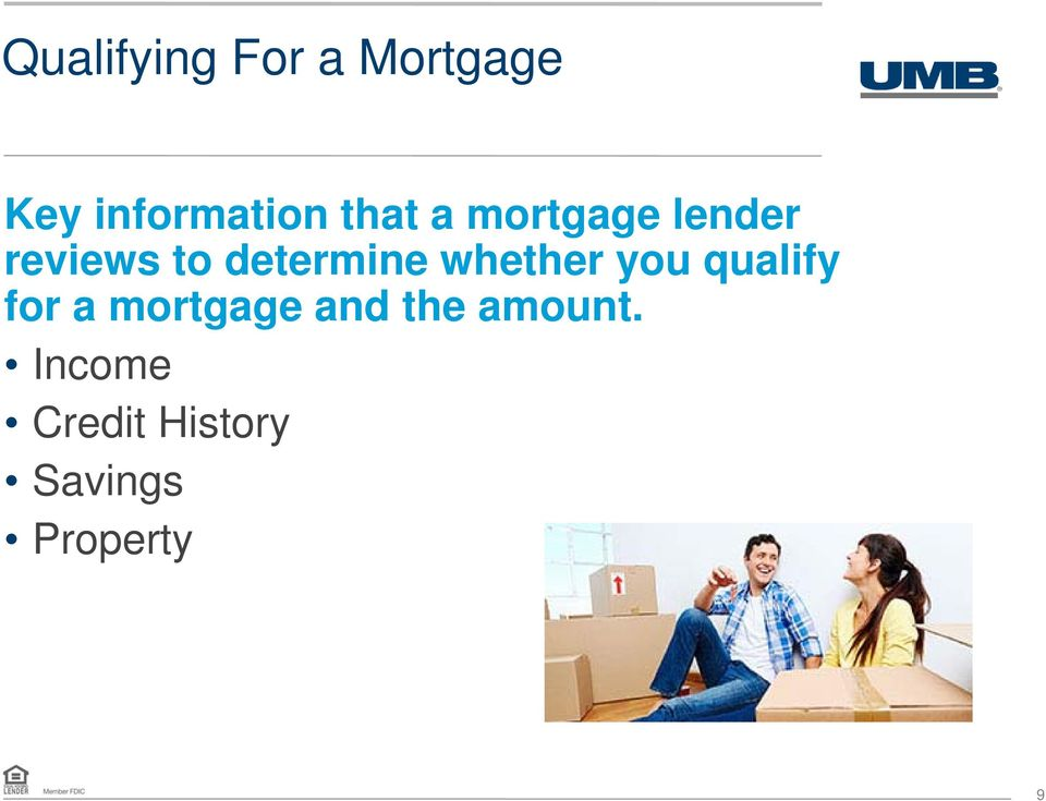 whether you qualify for a mortgage and the