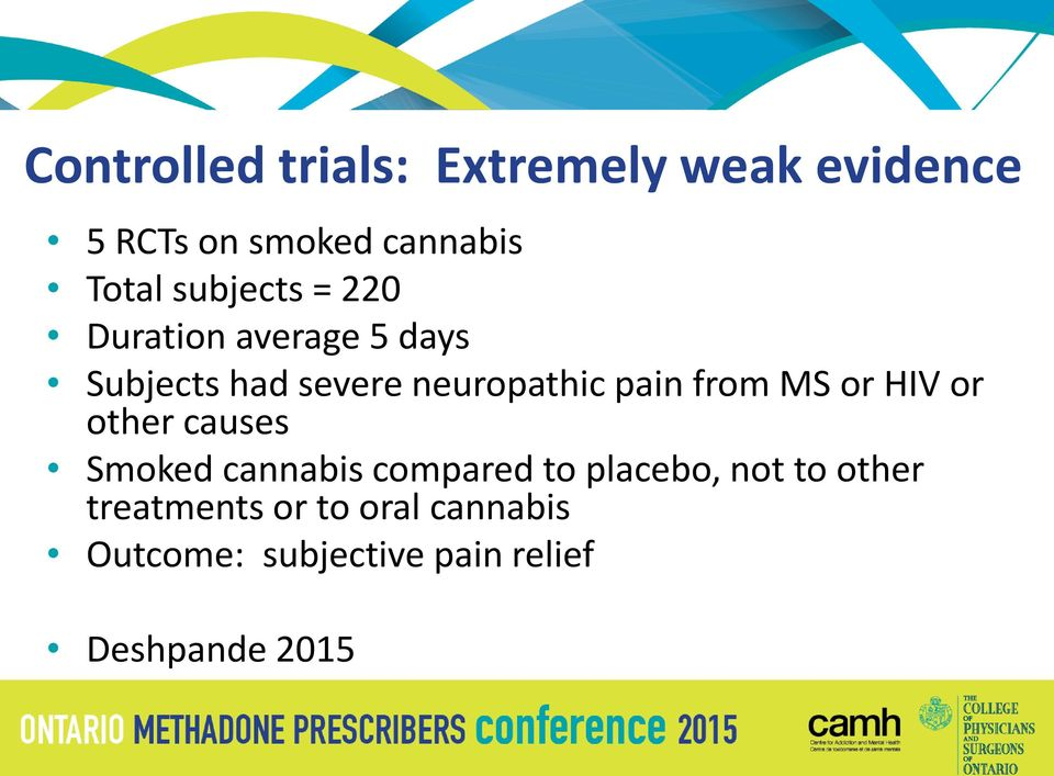 from MS or HIV or other causes Smoked cannabis compared to placebo, not to