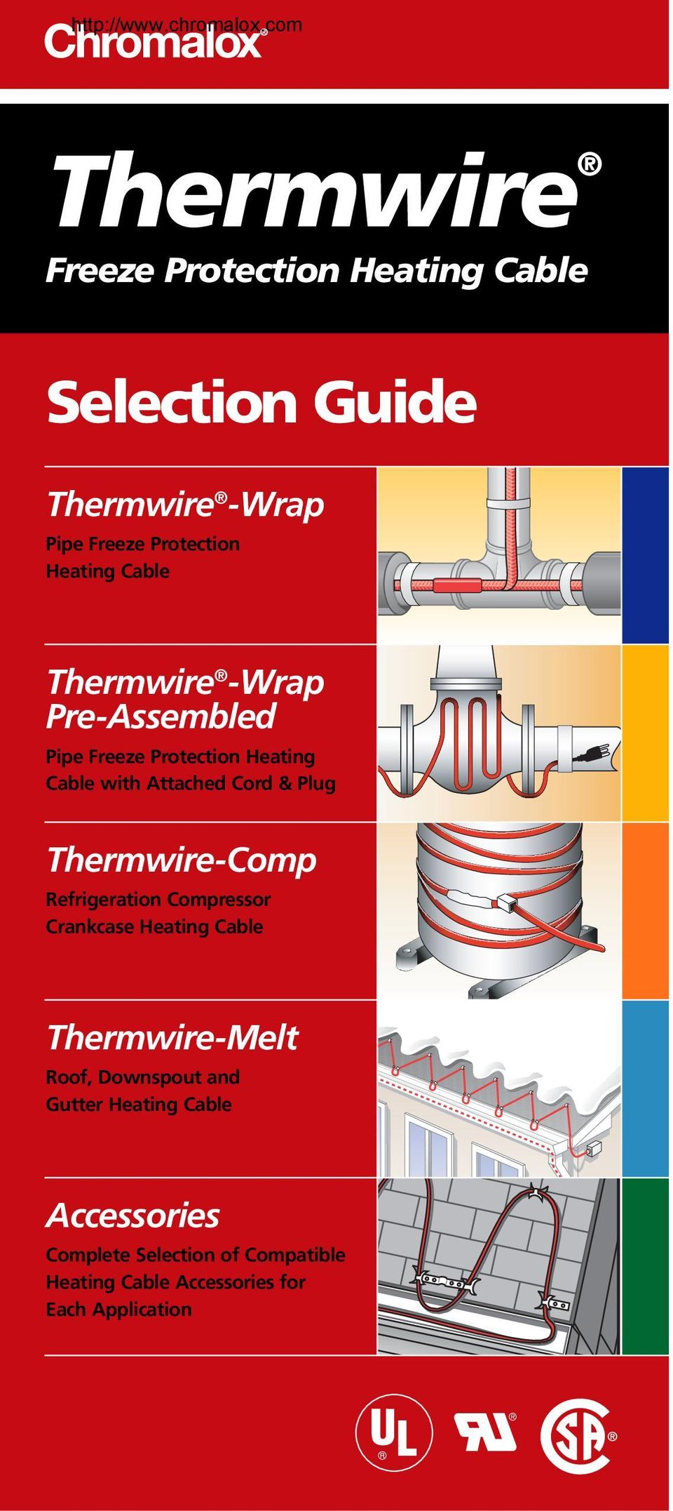 Refrigeration Compressor Crankcase Heating Cable Thermwire-Melt Roof, Downspout and Gutter