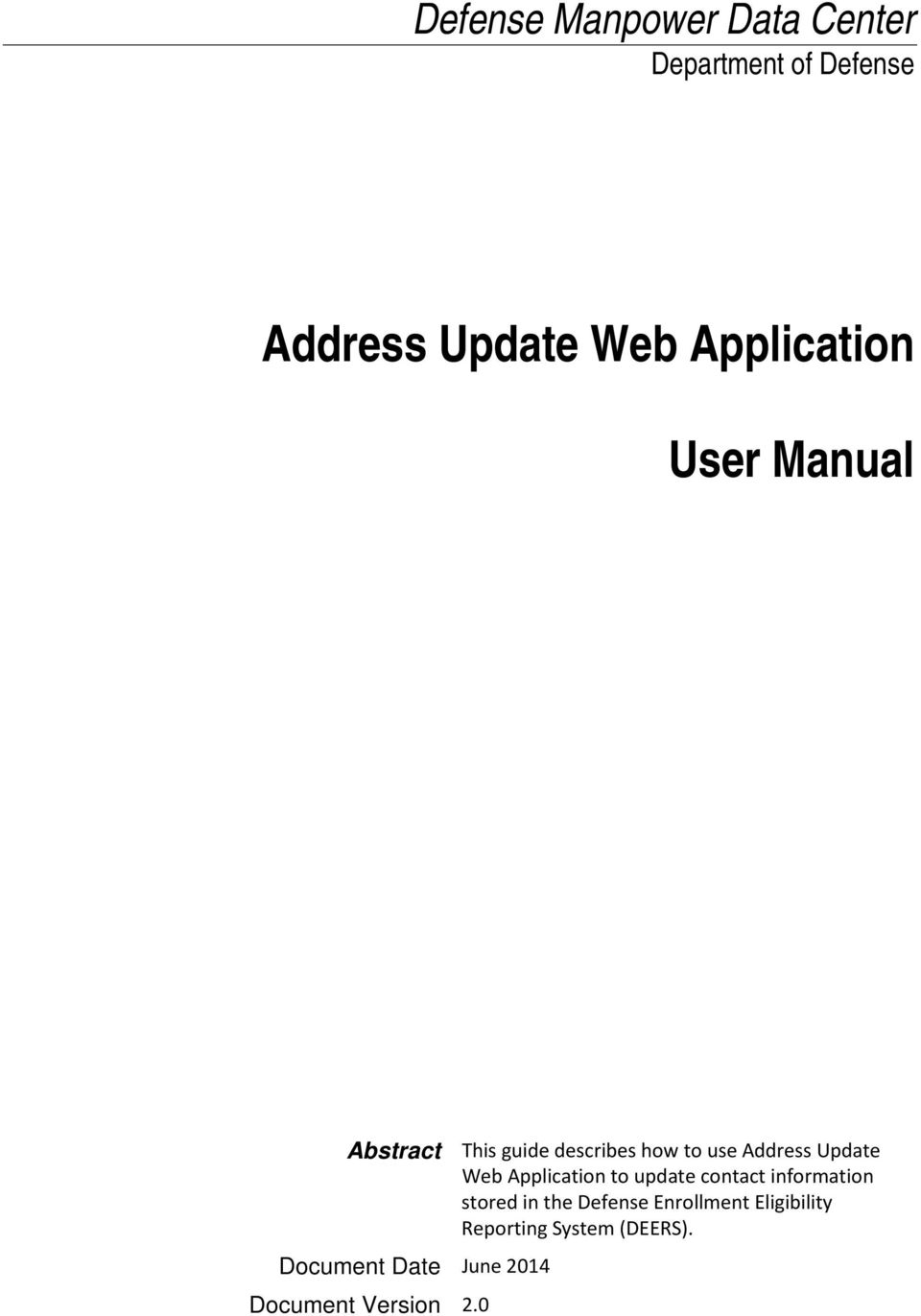 Update Web Application to update contact information stored in the Defense