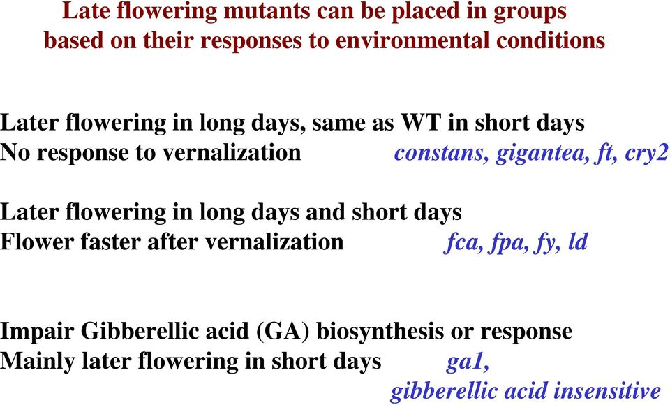Later flowering in long days and short days Flower faster after vernalization fca, fpa, fy, ld Impair