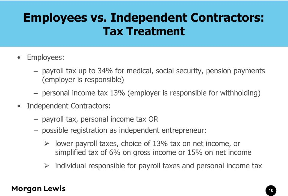 is responsible) personal income tax 13% (employer is responsible for withholding) Independent Contractors: payroll tax, personal