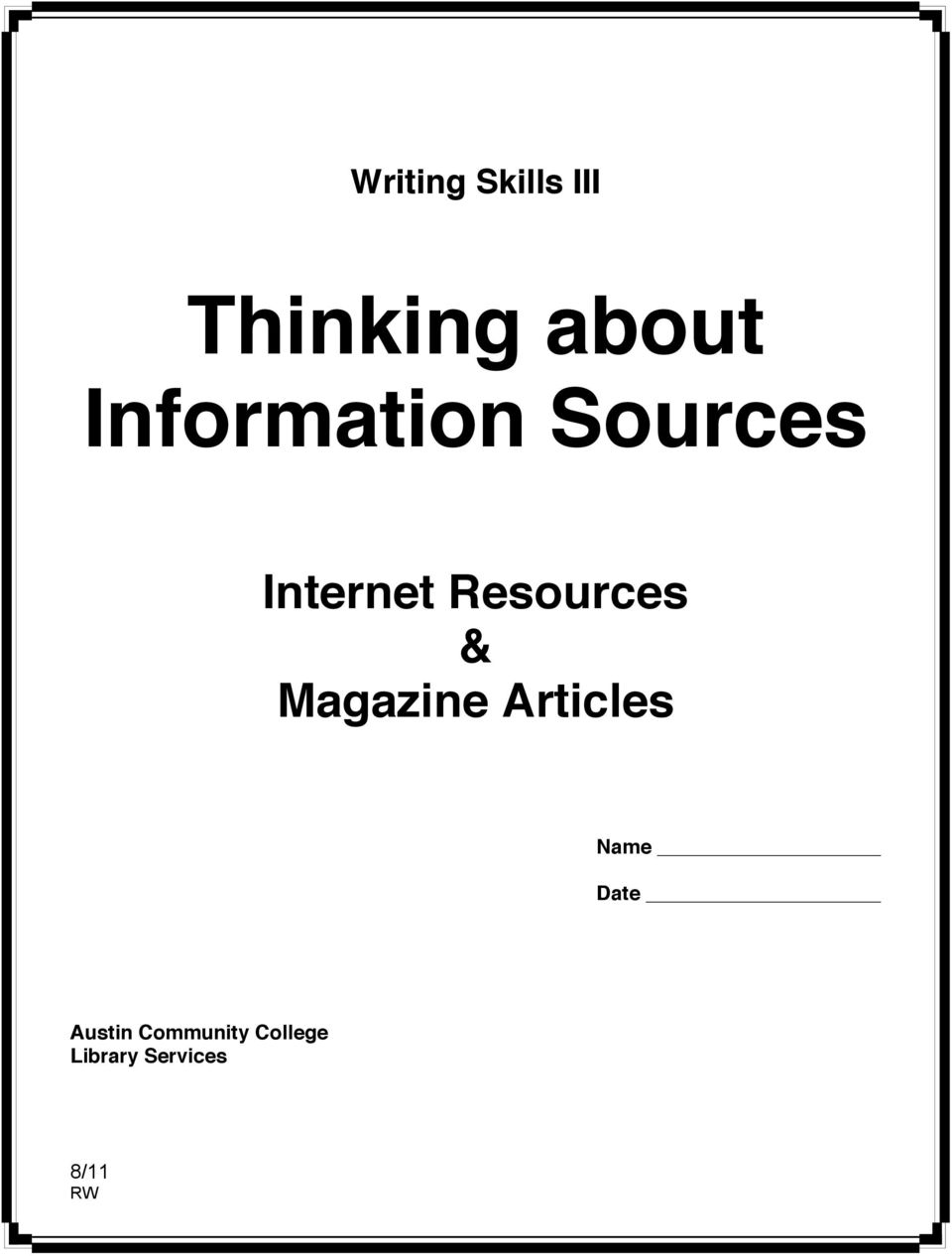 Resources & Magazine Articles Name