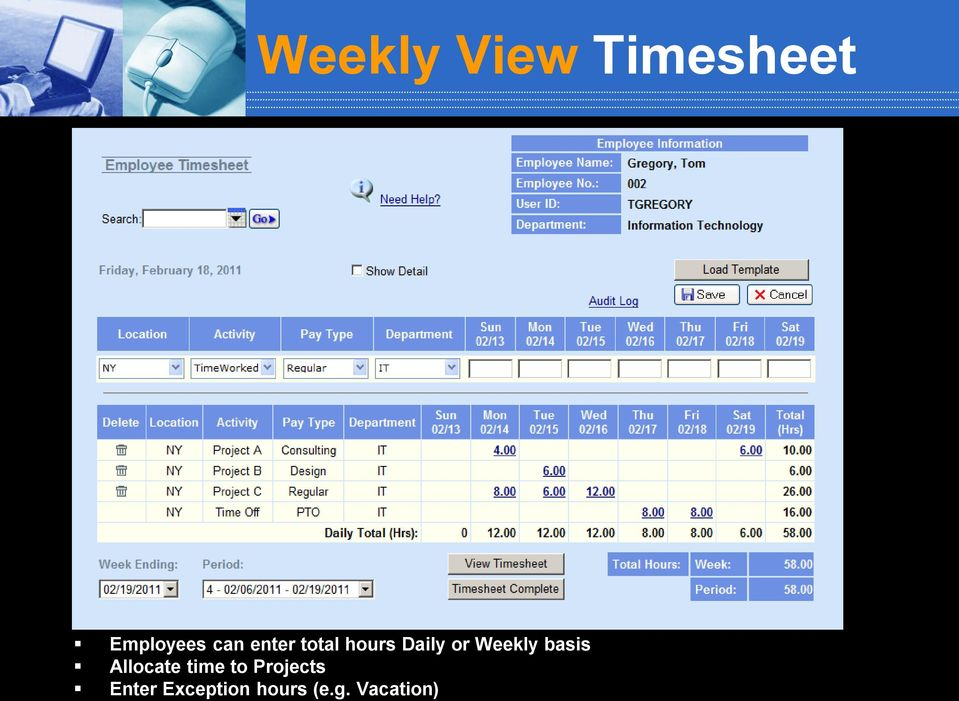 Weekly basis Allocate time to