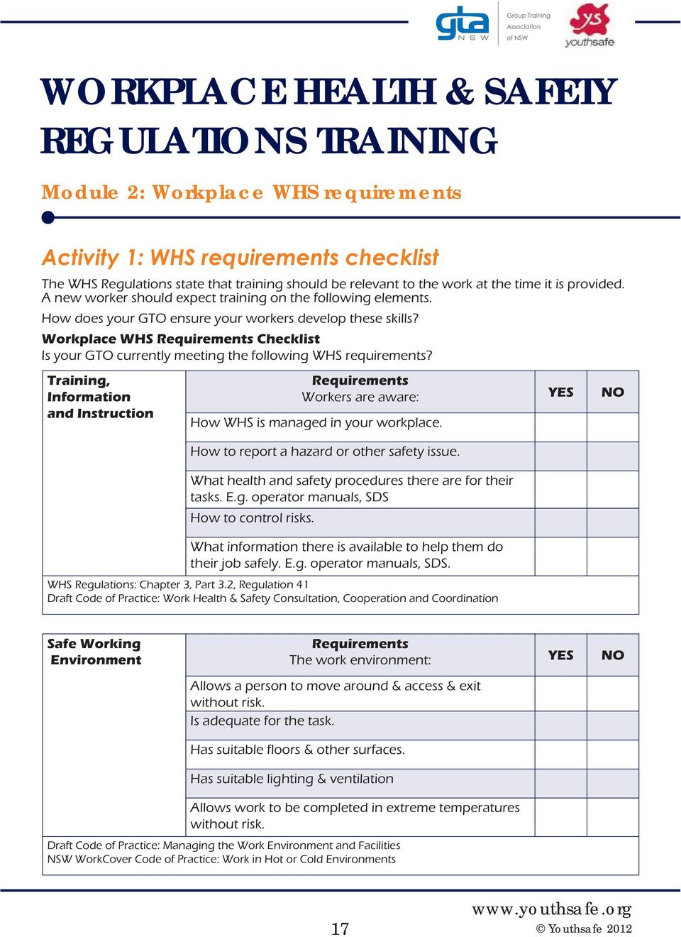 WORKPLACE HEALTH & SAFETY REGULATIONS TRAINING For Managers