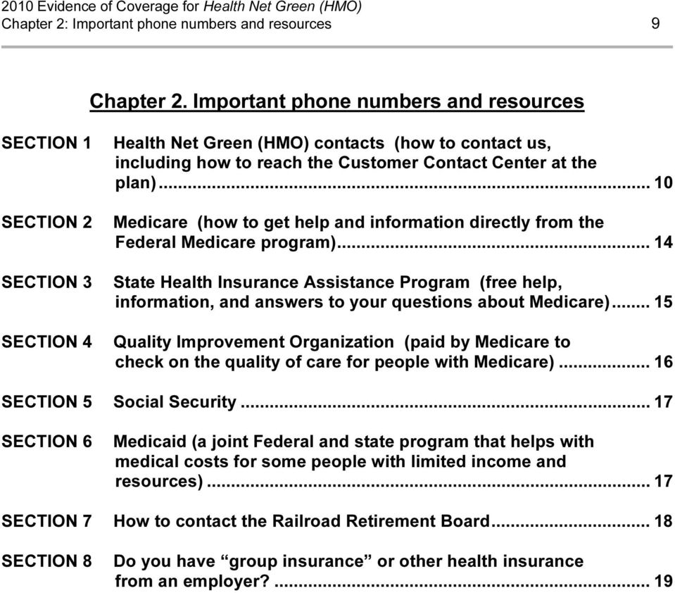 .. 10 Medicare (how to get help and information directly from the Federal Medicare program).