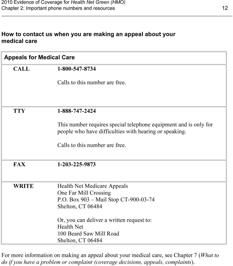 FAX 1-203-225-9873 WRITE Health Net Medicare Appeals On